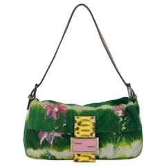 Fendi women's Handbag Baguette Green/Pink Leather
