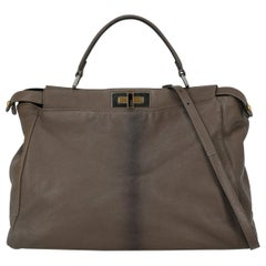 Fendi Women's Handbag Peekaboo Beige Leather