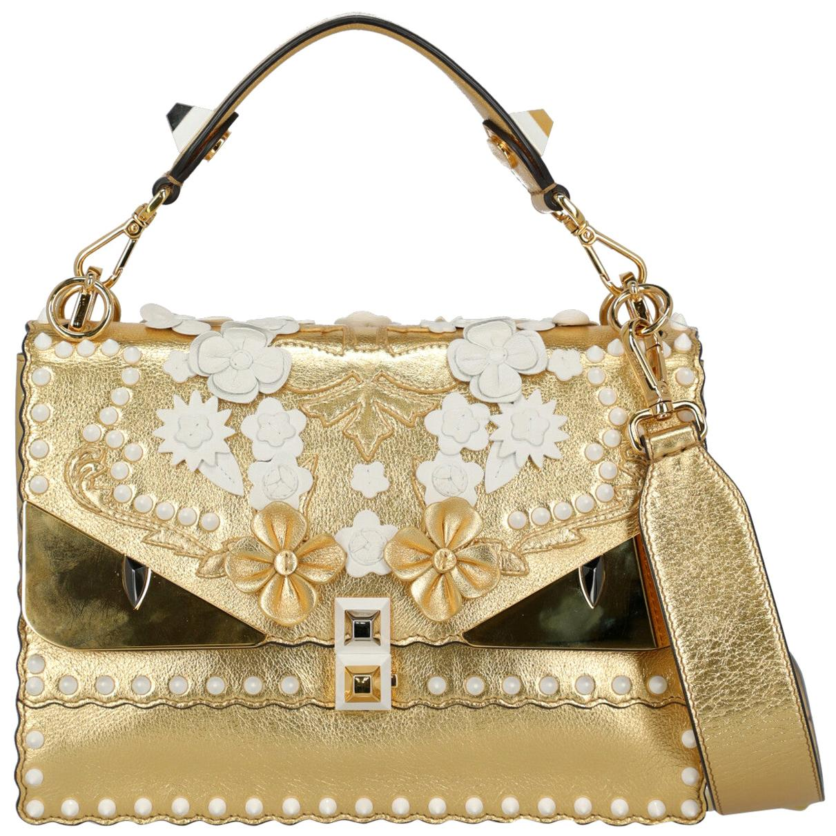 Fendi Women's Kan I Gold/White Leather