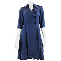 Fendi Women's Navy Silk 3/4 Sleeve Trench Style Dress with Buttons