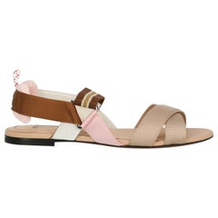 Fendi Women's Sandals Beige Fabric IT 37