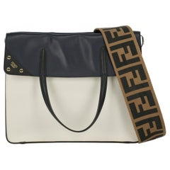 Fendi Women's Tote Bag Black/Navy/White Leather