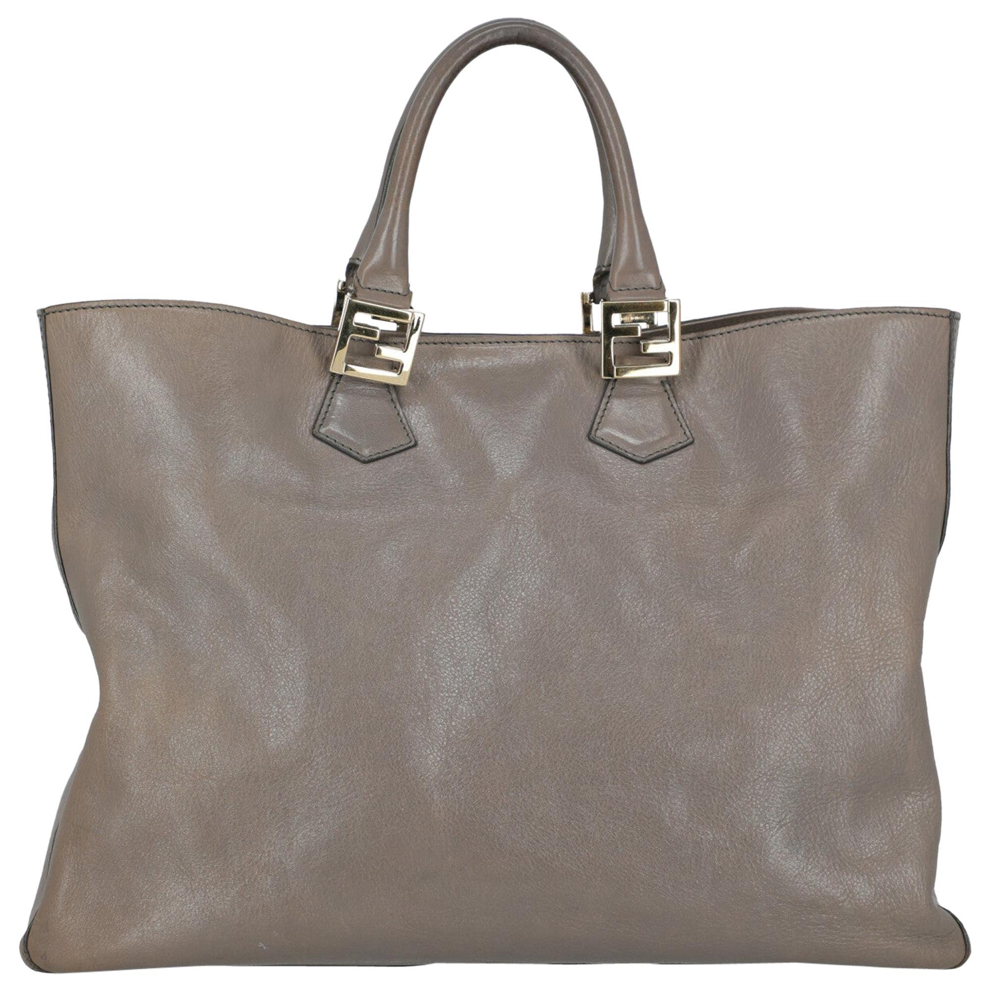 Fendi Women's Tote Bag  Grey Leather