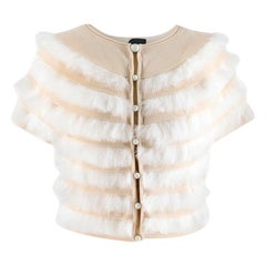 Fendi Wool & Pelliccia Fur Panelled Short Cardigan IT 40