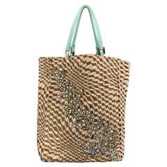 FENDI Woven Checkered Rhinestone Teal Lizard Handles Tote Bag
