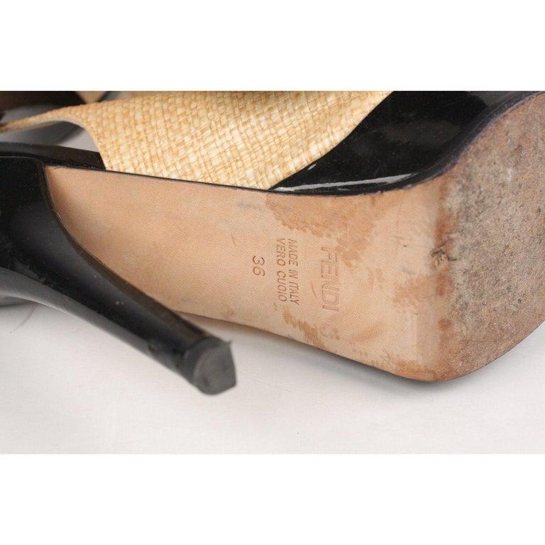 Fendi Woven Raffia Patent Leather Slingback Pumps Size 36 For Sale 6