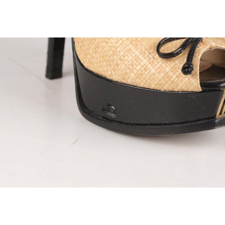 Fendi Woven Raffia Patent Leather Slingback Pumps Size 36 In Excellent Condition For Sale In Rome, Rome