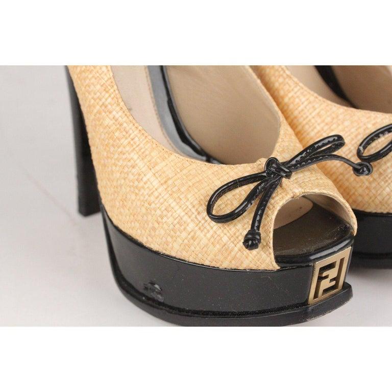 Fendi Woven Raffia Patent Leather Slingback Pumps Size 36 For Sale 2