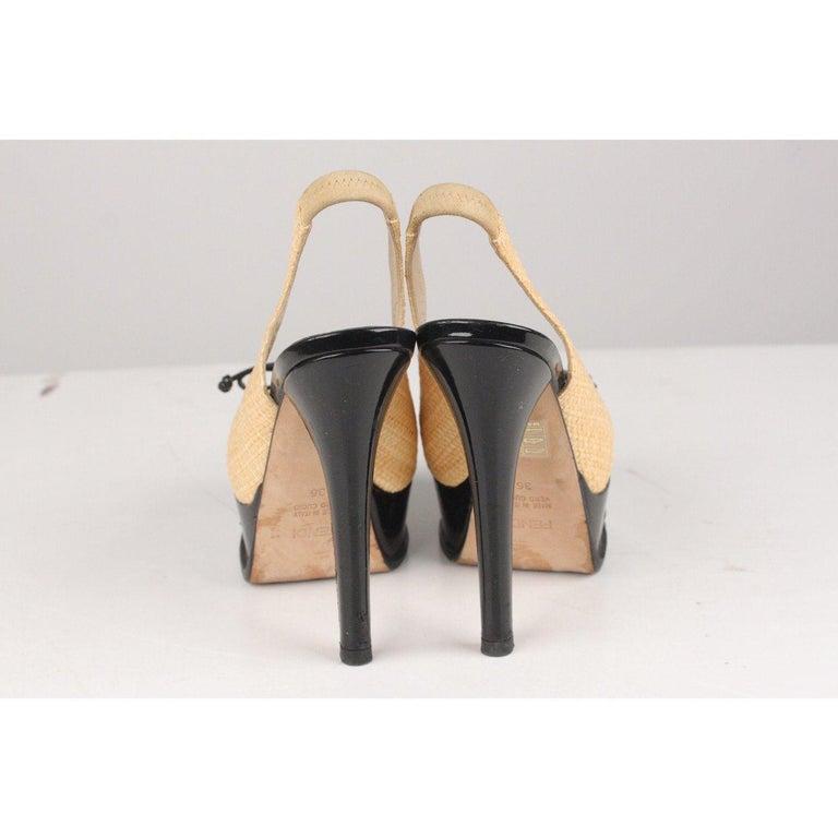 Fendi Woven Raffia Patent Leather Slingback Pumps Size 36 For Sale 3