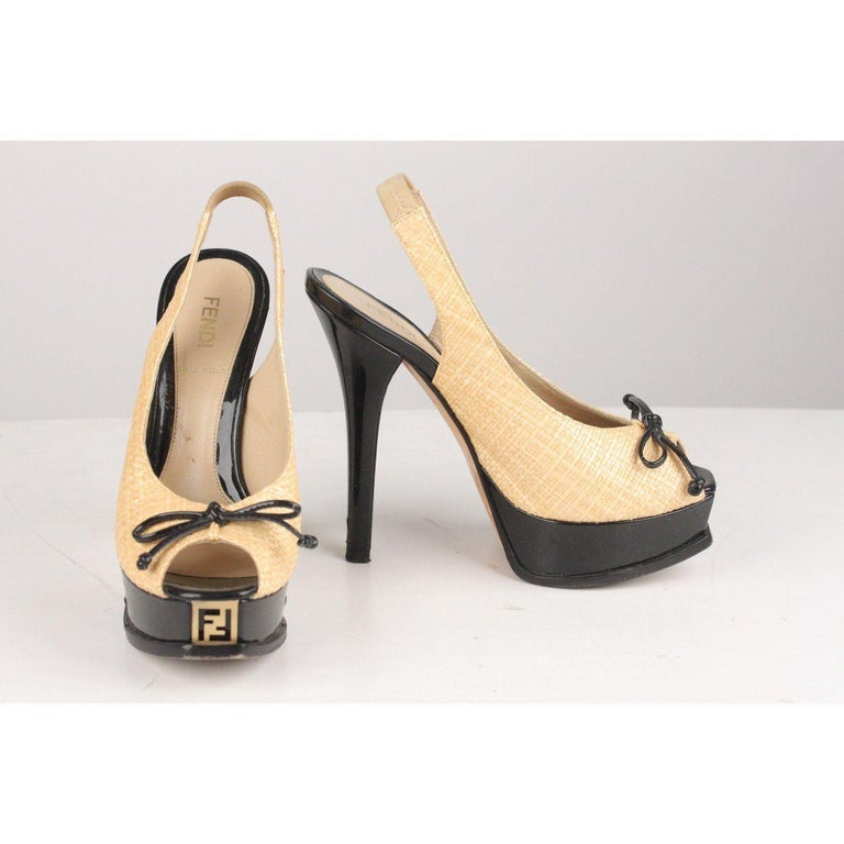 Fendi Woven Raffia Patent Leather Slingback Pumps Size 36 For Sale 5