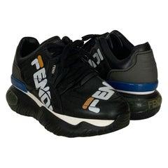 Fendi x Fila Black Leather Fila Mania Platform Sneakers