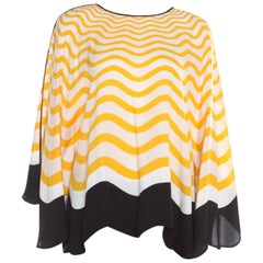 Fendi Yellow and Off White Wave Printed Silk Bow Trim Detail Kaftan Top M