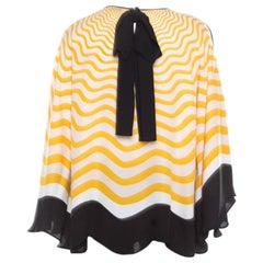 Fendi Yellow and Off White Wave Printed Silk Contrast  Trim Detail Kaftan Top M