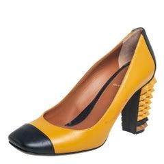 Fendi Yellow/Black Leather Cap Toe Block Heel Pumps Size 38.5
