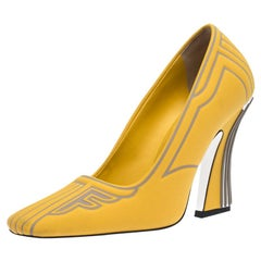 Fendi Yellow/Grey Neoprene And Rubber Square Toe Ffreedom Pumps Size 37