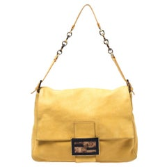 Fendi Yellow Iridescent Leather Mama Forever Large Flap Shoulder Bag