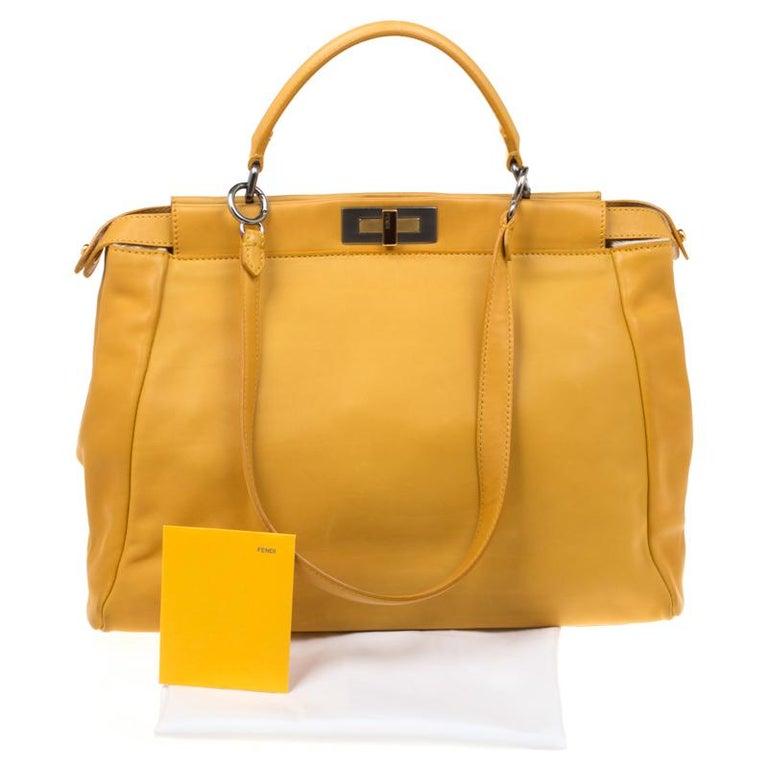 095e9828 Fendi Yellow Leather and Calfhair Lining Large Peekaboo Top Handle Bag