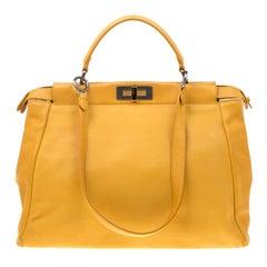 Fendi Yellow Leather and Calfhair Lining Large Peekaboo Top Handle Bag