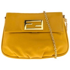 Fendi Yellow Leather Fendista Chain Shoulder Bag