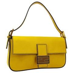 Fendi Yellow Leather Gold Logo Top Handle Shoulder Pochette Flap Bag