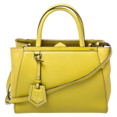 Fendi Yellow Leather Small 2Jours Tote