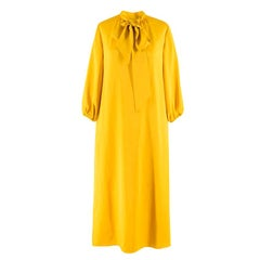 Fendi Yellow Oversized Tie-Neck Midi Dress IT 38