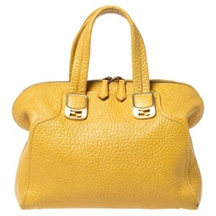 Fendi Yellow Pebbled Leather Small Chameleon Satchel