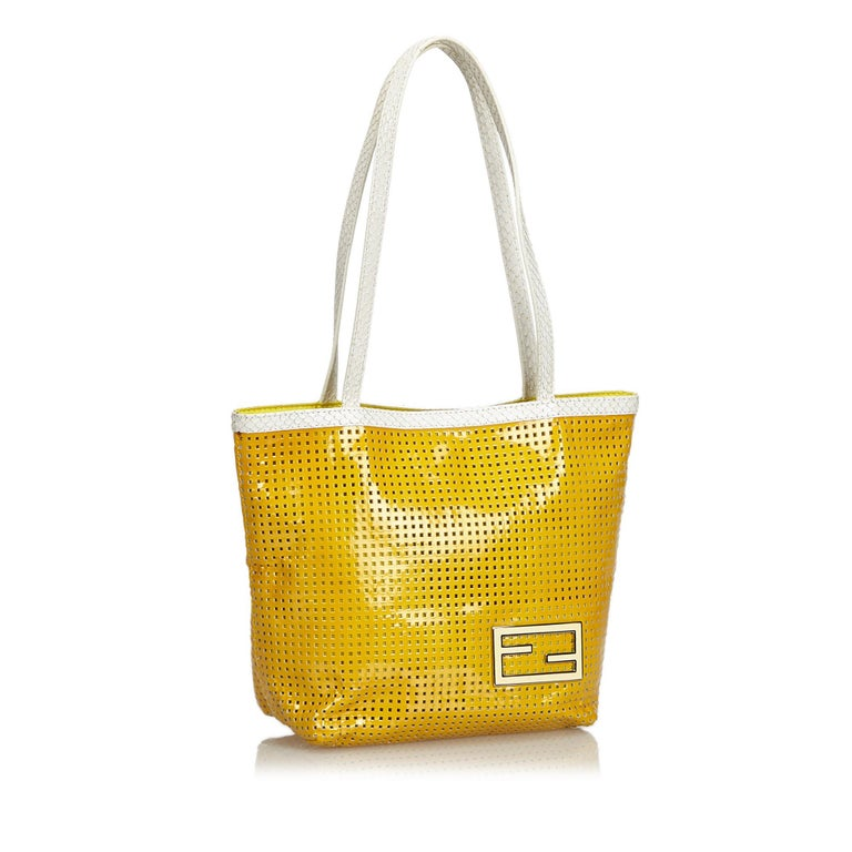 Fendi Yellow Perforated Patent Leather Tote Bag