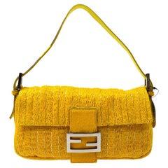Fendi Yellow Ponyhair Beaded Silver Logo Top Handle Pochette Shoulder Flap Bag