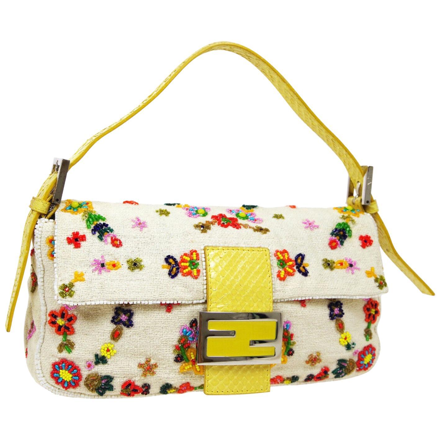 Fendi Yellow Python Multi Flower Bead Floral Baguette Evening Shoulder Flap Bag