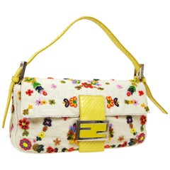 Fendi Yellow Python Multi Flower Bead Floral Baguette Evening Shoulder Flap Bag