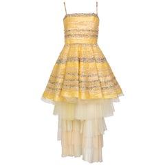 Fendi Yellow Silk Sequins Tulle Dress + Petticoat Set Runway 2008