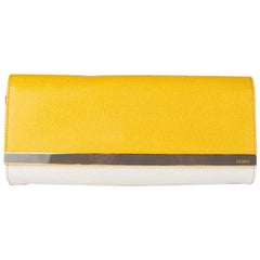 FENDI yellow & white COLORBLOCK WRISTLET Clutch Bag