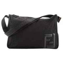 Fendi Zip Around Messenger Bag Zucca Canvas Large