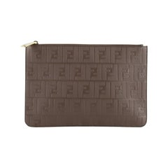 Fendi Zip Pouch Zucca Embossed Leather