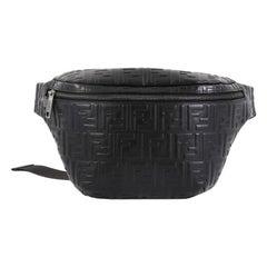 Fendi Zip Waist Bag Zucca Embossed Leather