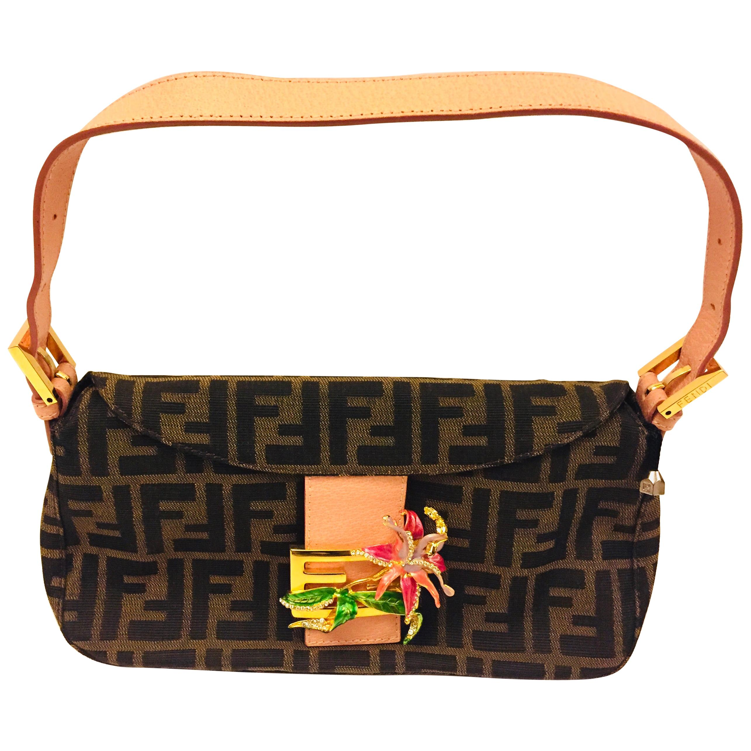 Fendi Zucca baguette limited edition with crystal/rhinestones orchid buckle