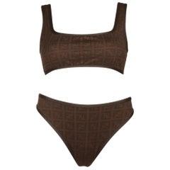Fendi Zucca Brown Black Logo Two Piece Crop Top Bikini Bottom Swimsuit