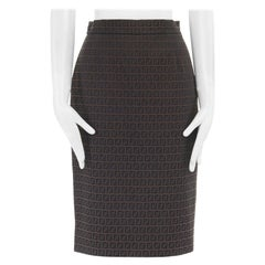 FENDI Zucca FF monogram brown cotton back vent fitted pencil skirt IT40 27""