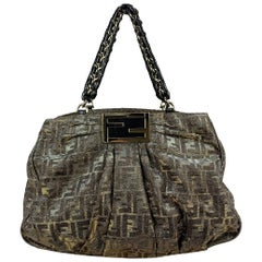 Fendi Zucca Glitter Monogram Canvas Mia Chain Tote Bag