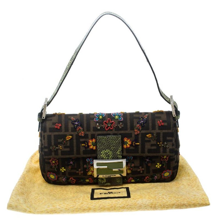 Fendi Zucca/Green Canvas Beaded and Lizard Mama Baguette Shoulder Bag For Sale 6