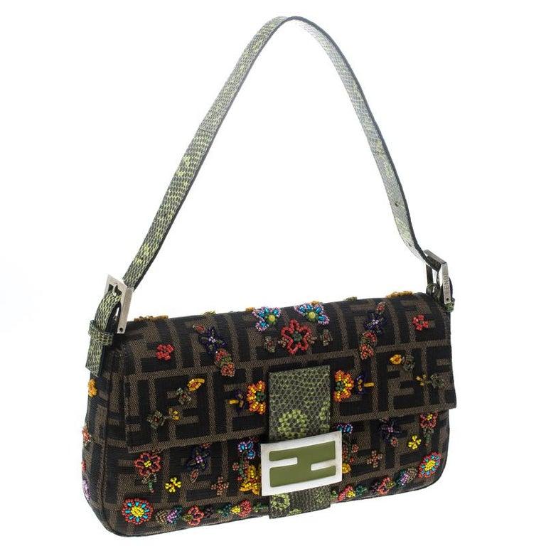 Black Fendi Zucca/Green Canvas Beaded and Lizard Mama Baguette Shoulder Bag For Sale