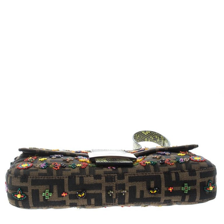 Fendi Zucca/Green Canvas Beaded and Lizard Mama Baguette Shoulder Bag For Sale 2