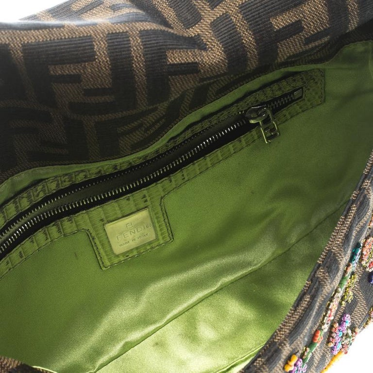 Fendi Zucca/Green Canvas Beaded and Lizard Mama Baguette Shoulder Bag For Sale 3