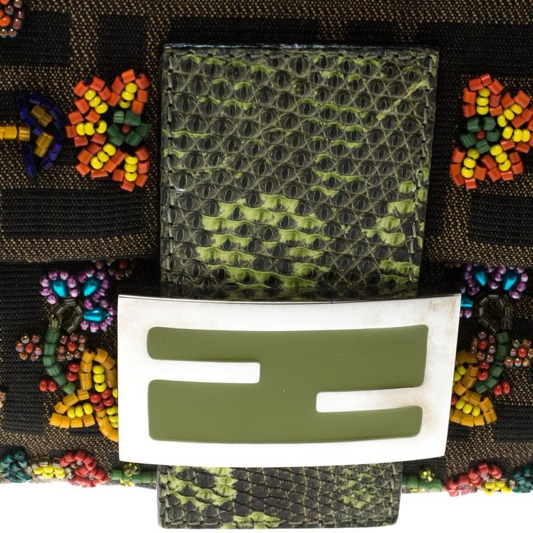 Fendi Zucca/Green Canvas Beaded and Lizard Mama Baguette Shoulder Bag For Sale 4