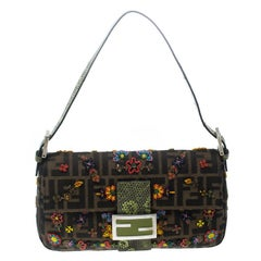 Fendi Zucca/Green Canvas Beaded and Lizard Mama Baguette Shoulder Bag