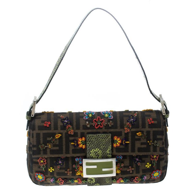 Fendi Zucca/Green Canvas Beaded and Lizard Mama Baguette Shoulder Bag For Sale