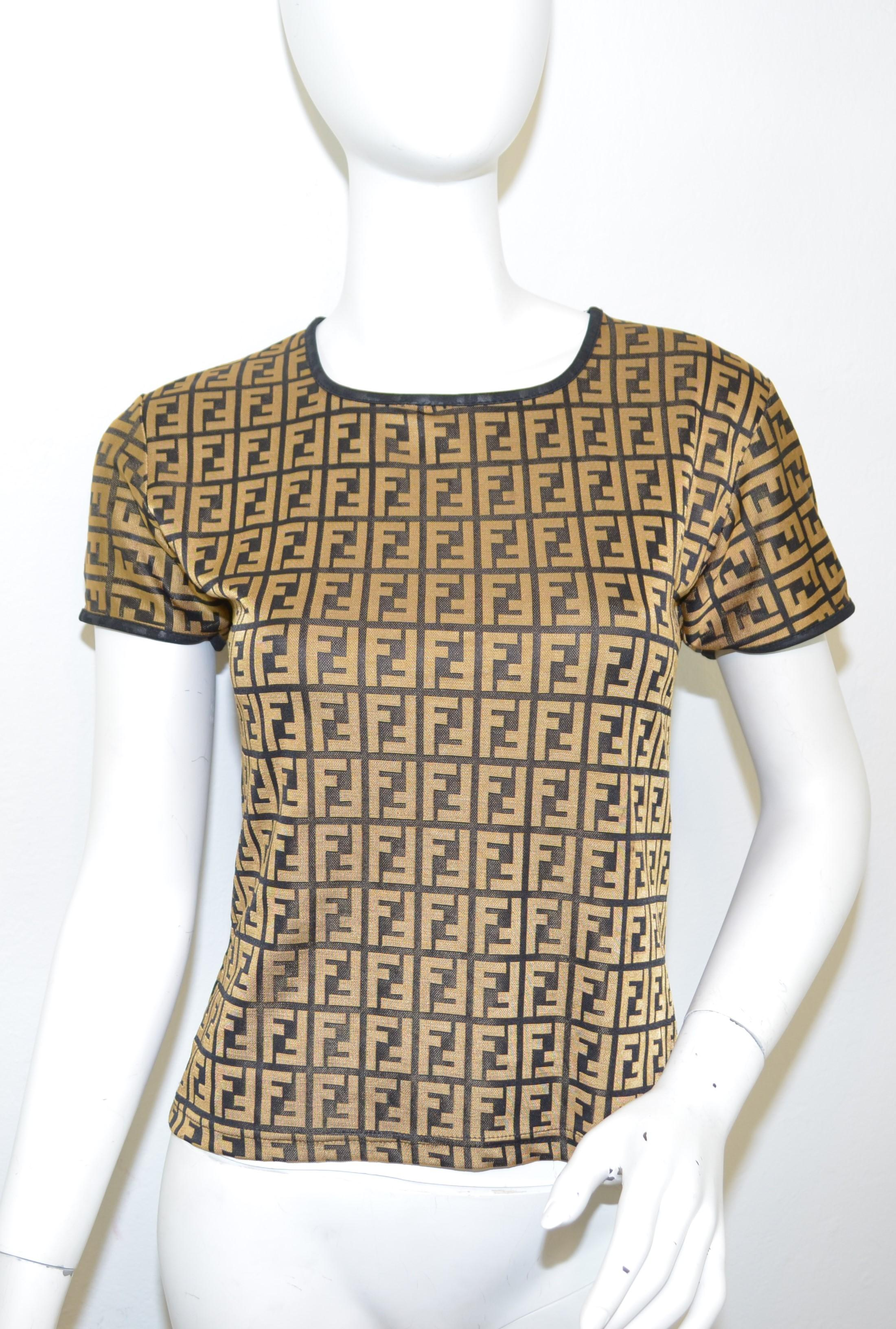fac9a18796ee Fendi Zucca Logo Knit Top For Sale at 1stdibs