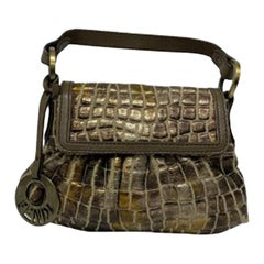 Fendi Zucca Mini Bag in Laminated Fabric with Mud-Colored Leather Inserts