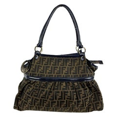 Fendi Zucca Monogram Canvas Chef Bag with Patent Leather Trim